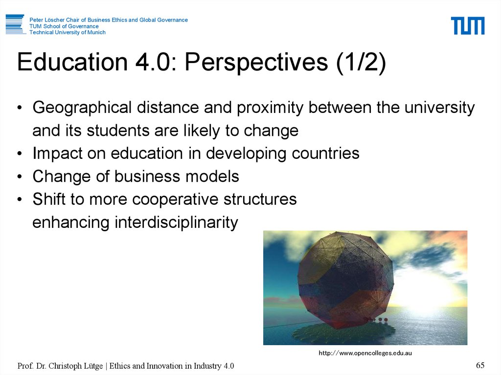 Education 4.0: Perspectives (1/2)