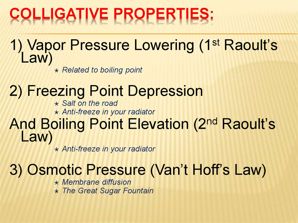 Colligative PropertIES: