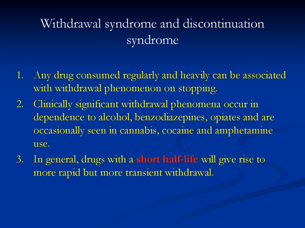 Withdrawal syndrome and discontinuation syndrome