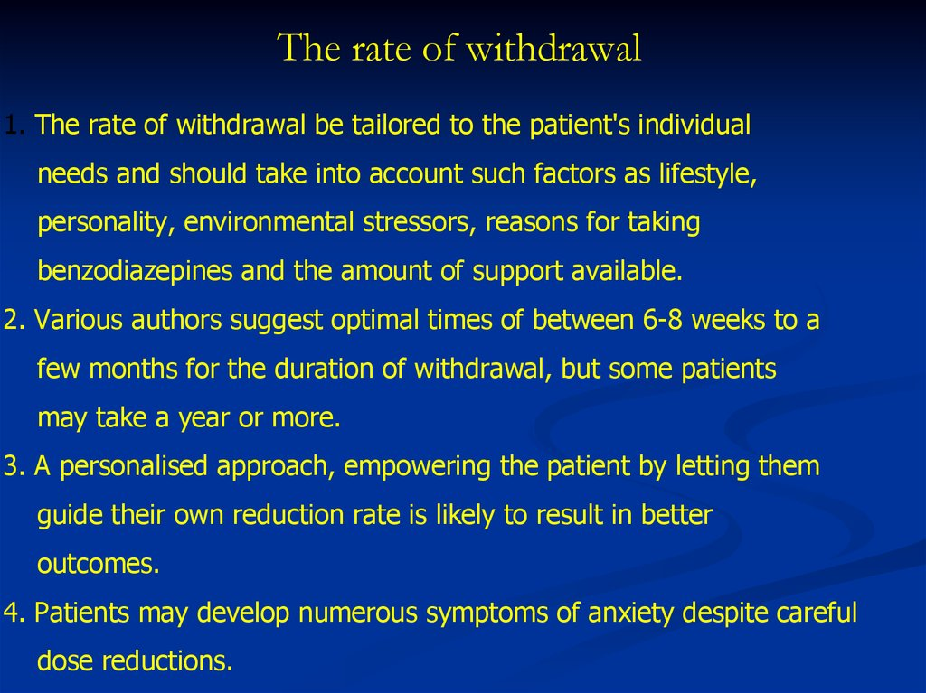 Benzodiazepines: withdrawal