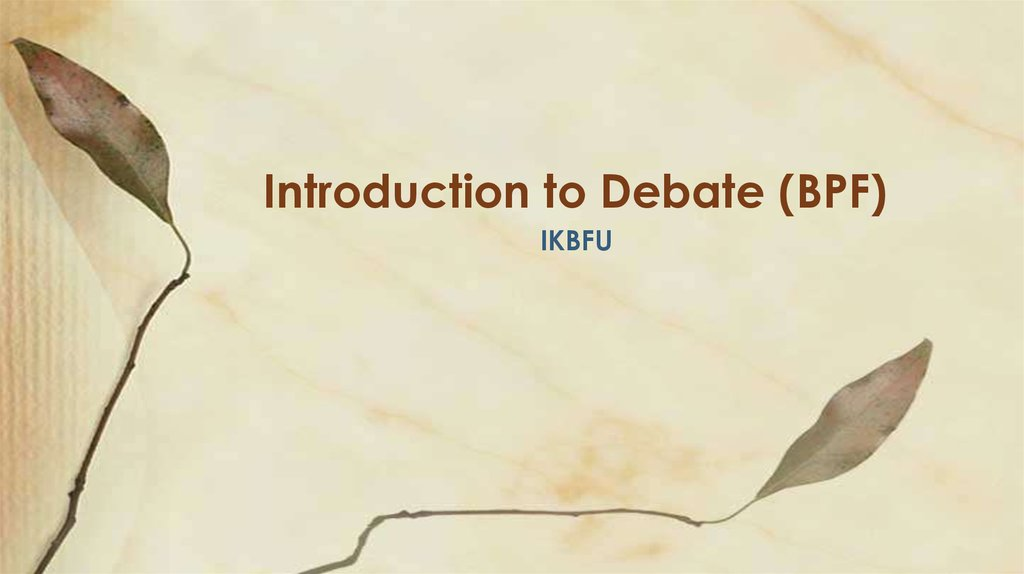 Introduction to Debate (BPF)
