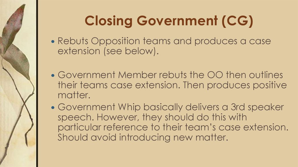 Closing Government (CG)