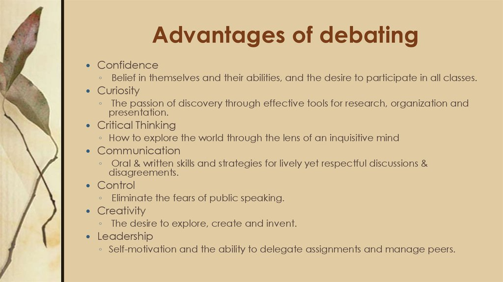 Advantages of debating