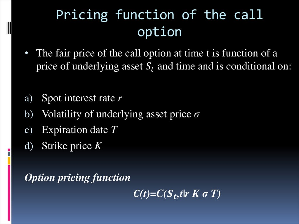 Pricing function of the call option