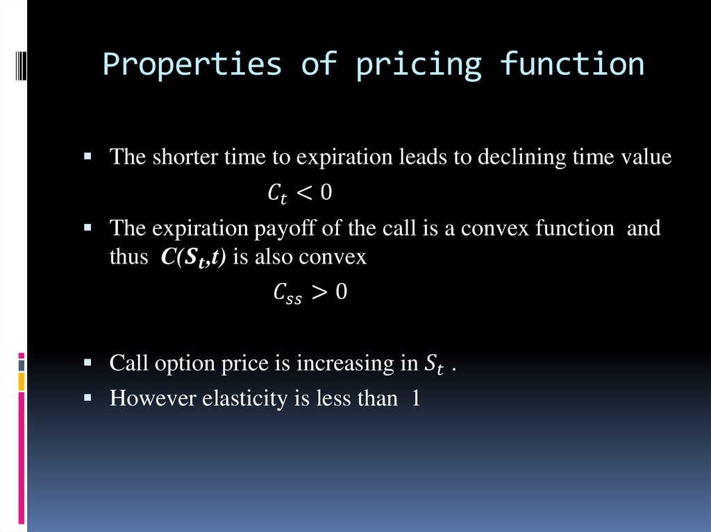 Properties of pricing function