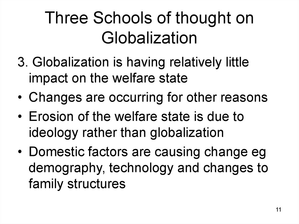 Three Schools of thought on Globalization