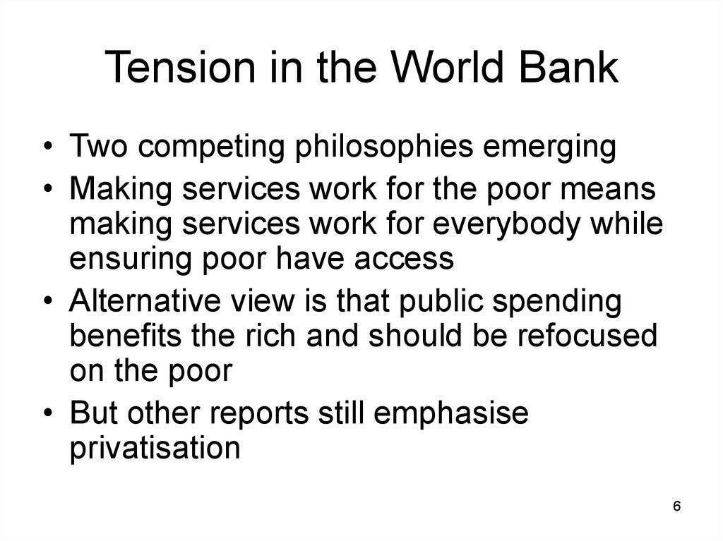 Tension in the World Bank