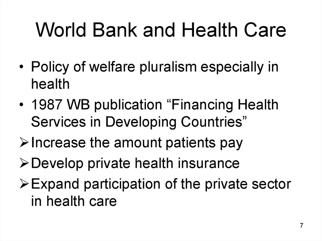 World Bank and Health Care