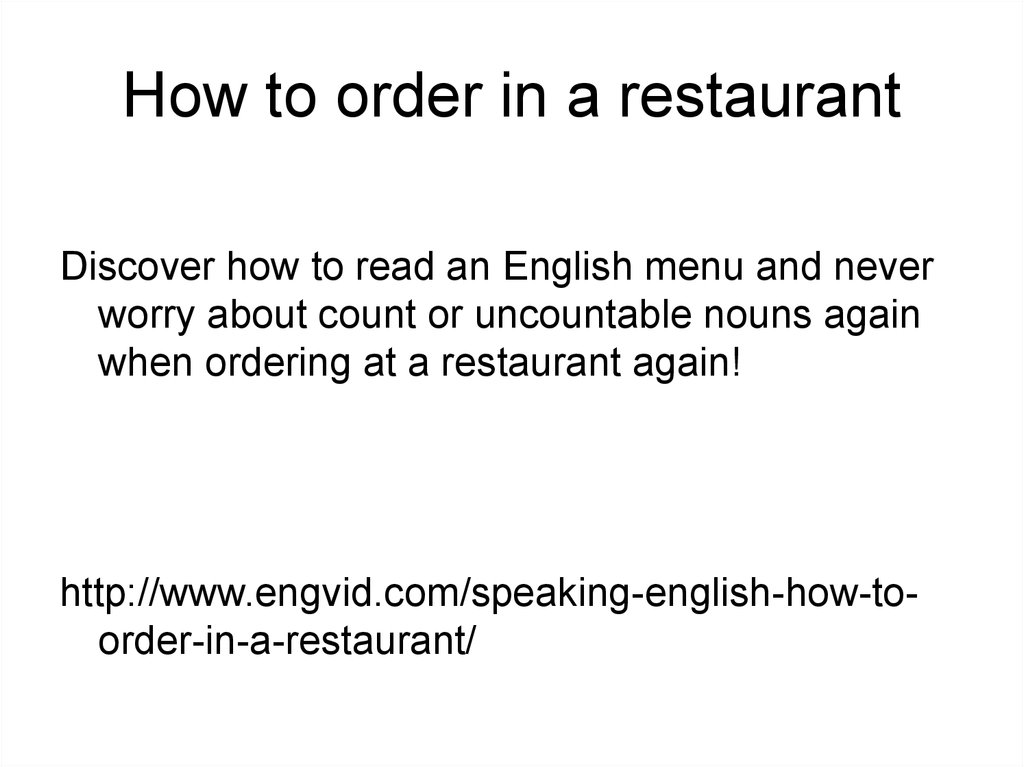 How to order in a restaurant