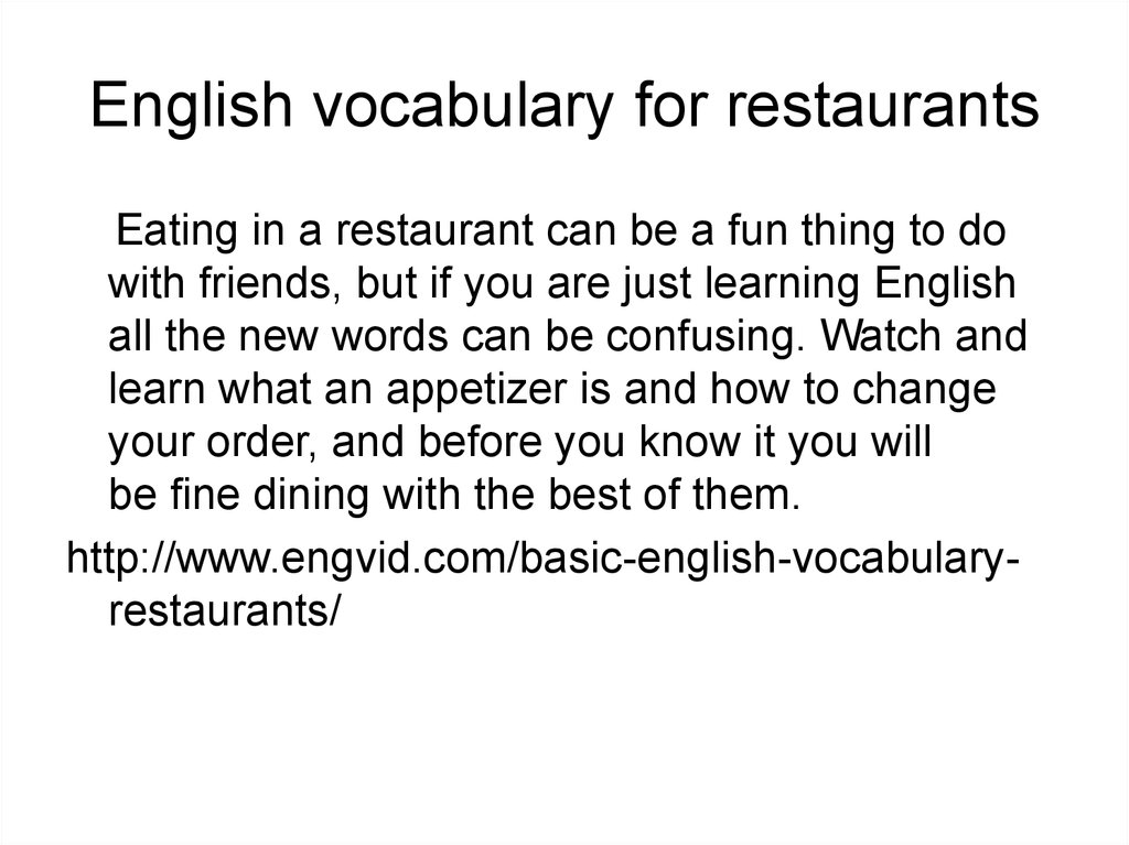 English vocabulary for restaurants