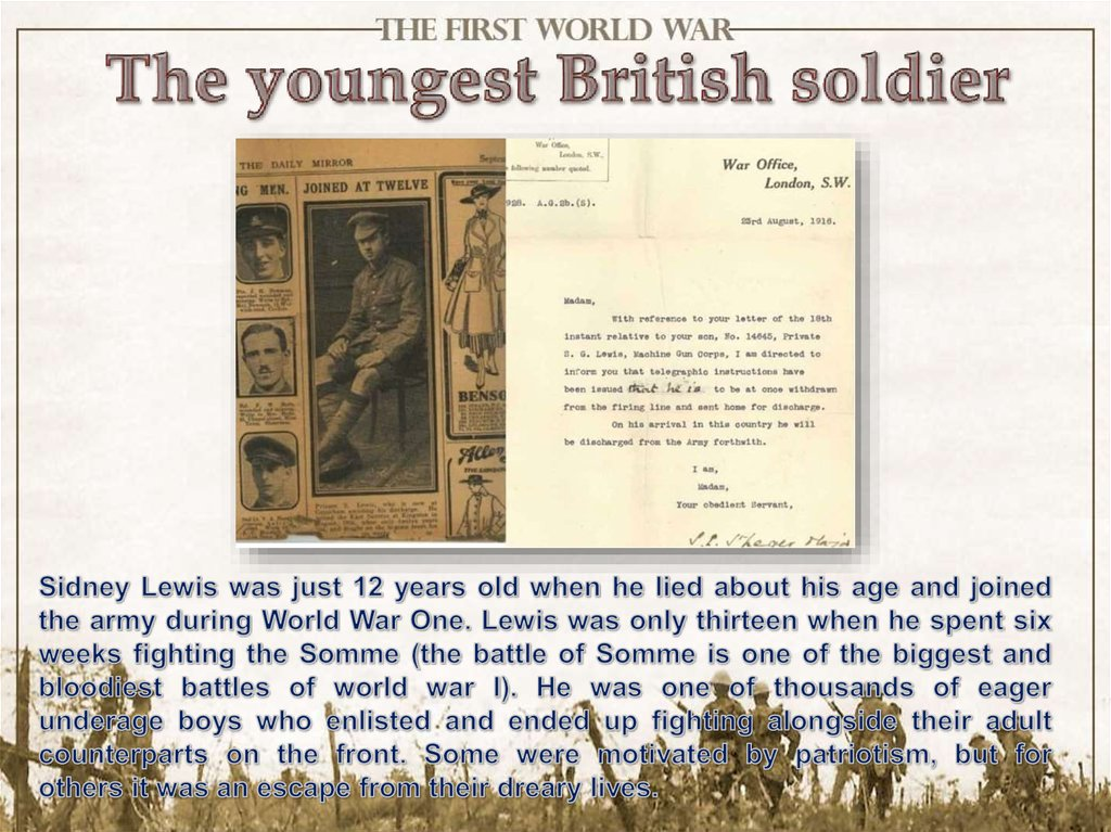 The youngest British soldier