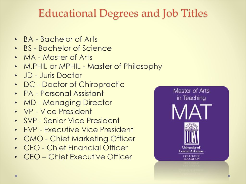 Educational Degrees and Job Titles