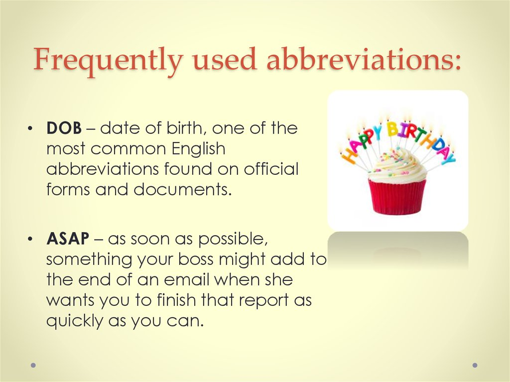 Frequently used abbreviations: