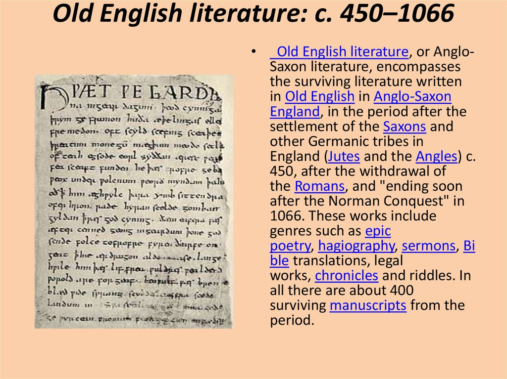 Old English literature: c. 450–1066