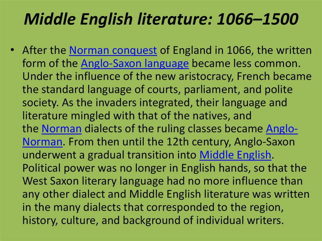 Middle English literature: 1066–1500