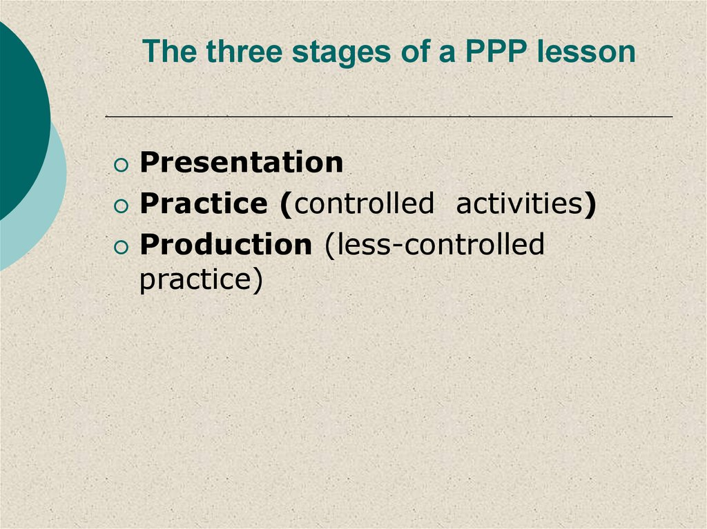 The three stages of a PPP lesson