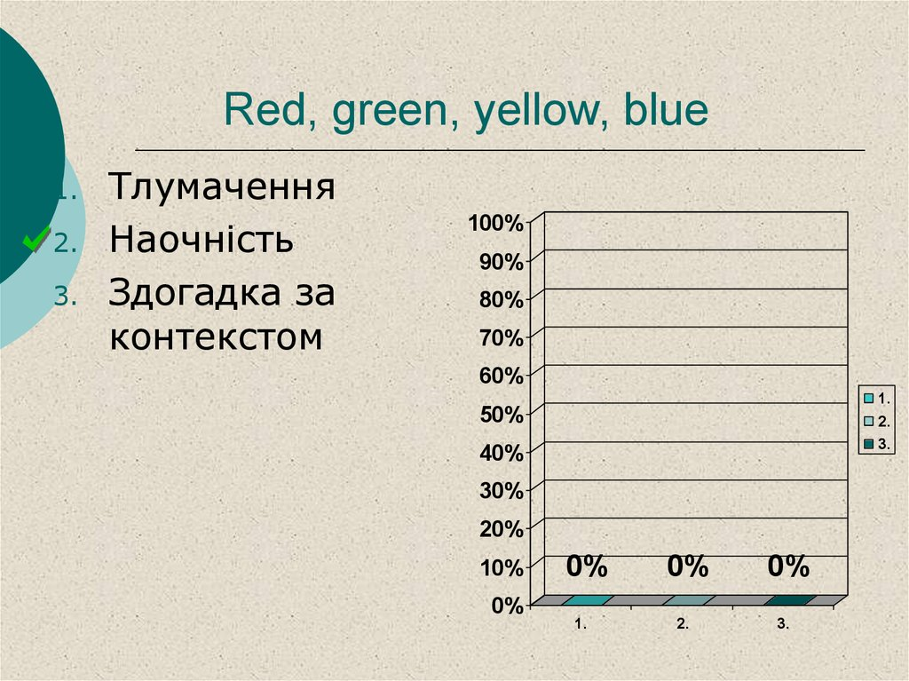 Red, green, yellow, blue