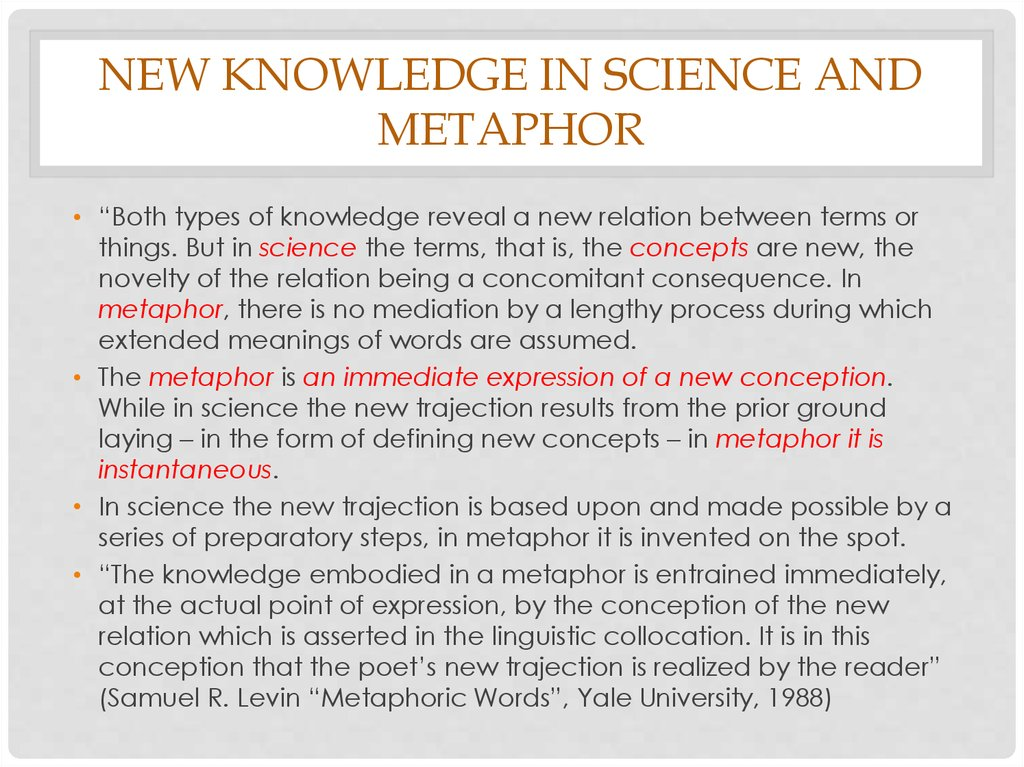 New knowledge in science and metaphor