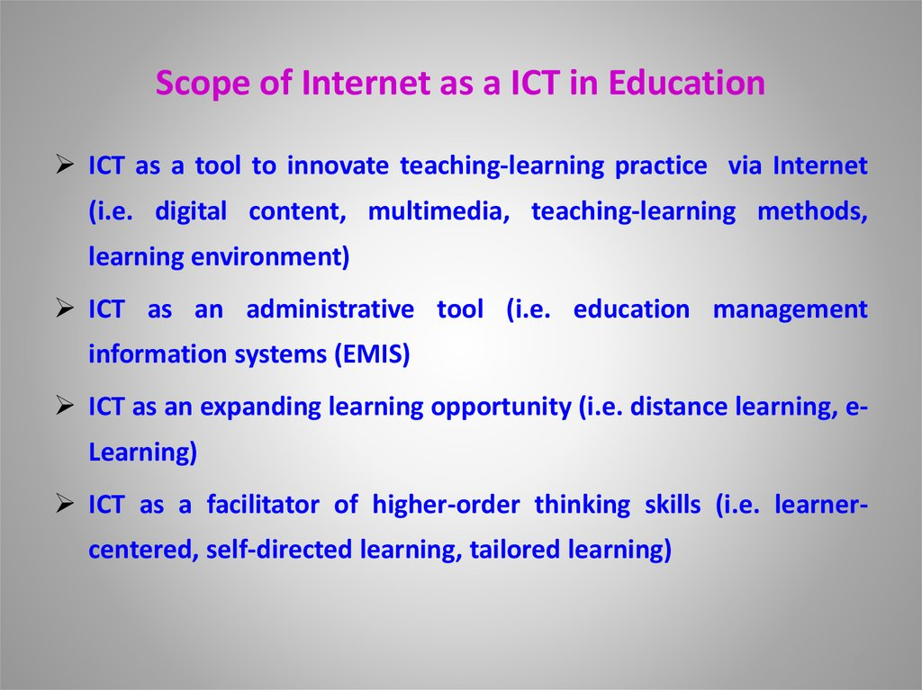 Scope of Internet as a ICT in Education