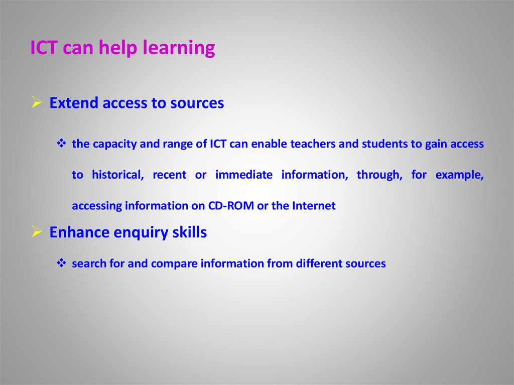 ICT can help learning