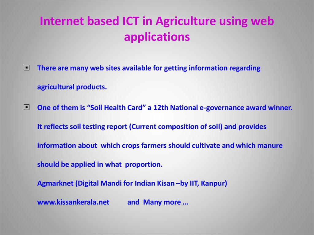 Internet based ICT in Agriculture using web applications