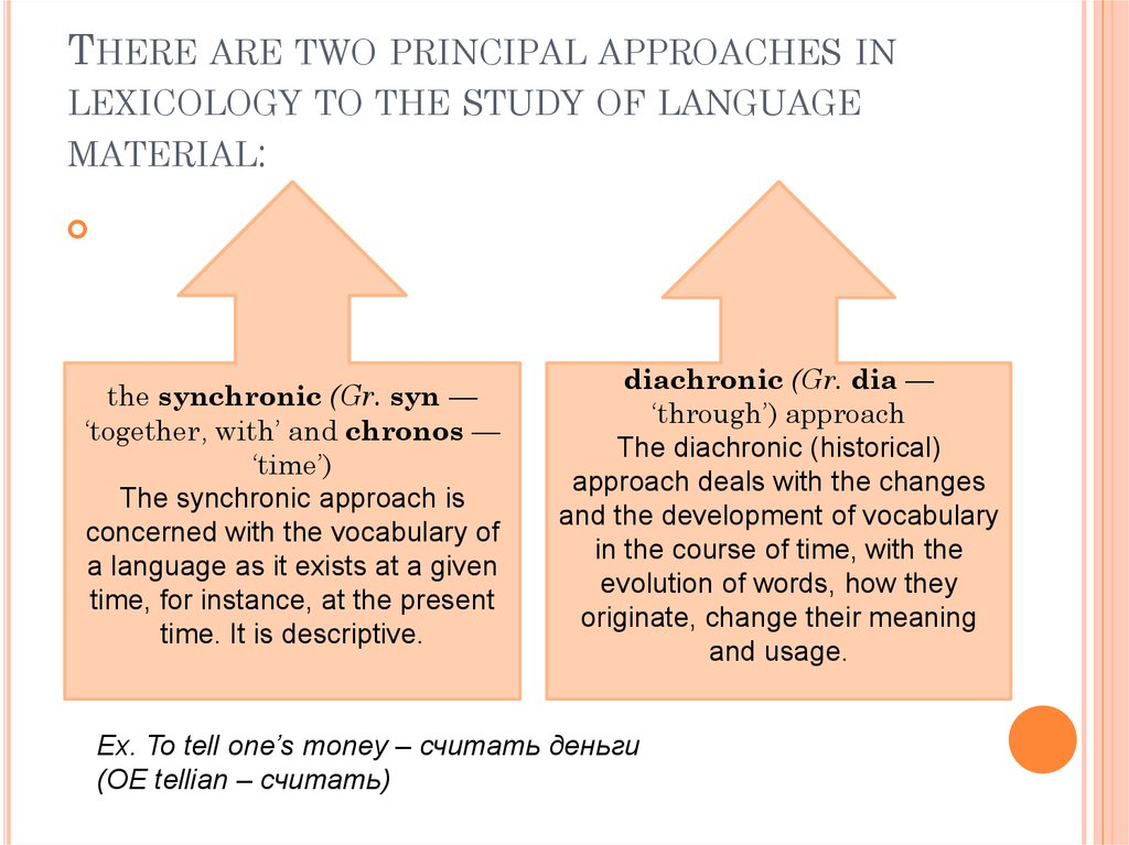 There are two principal approaches in lexicology to the study of language material: