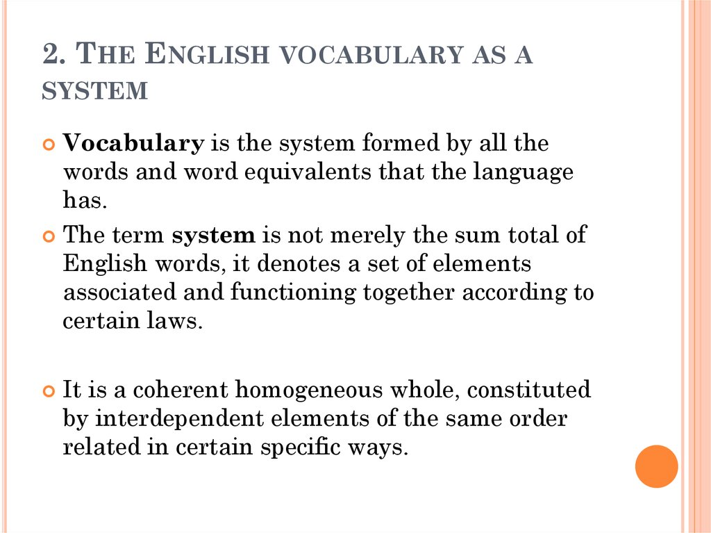 2. The English vocabulary as a system