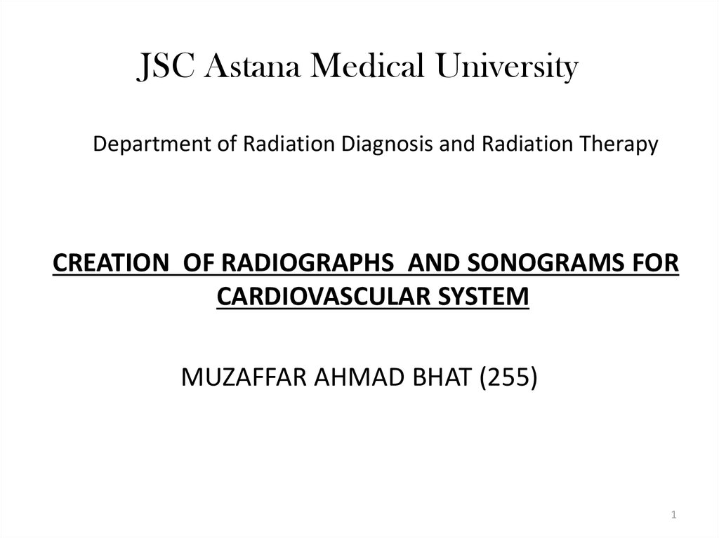 Creation Of Radiographs And Sonograms For Cardiovascular System