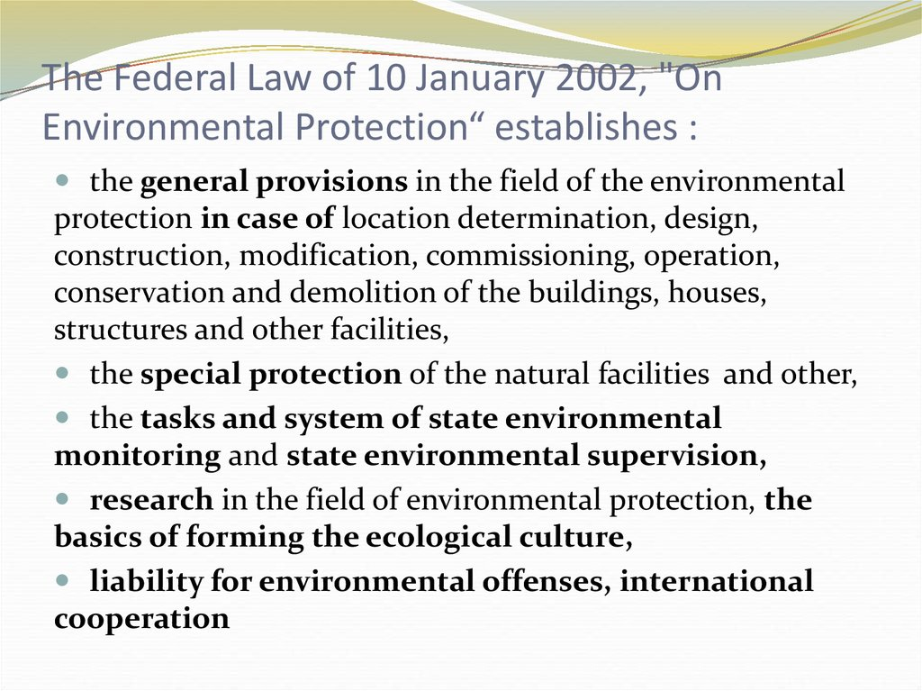 "The Federal Law of 10 January 2002, ""On Environmental Protection"" establishes :"