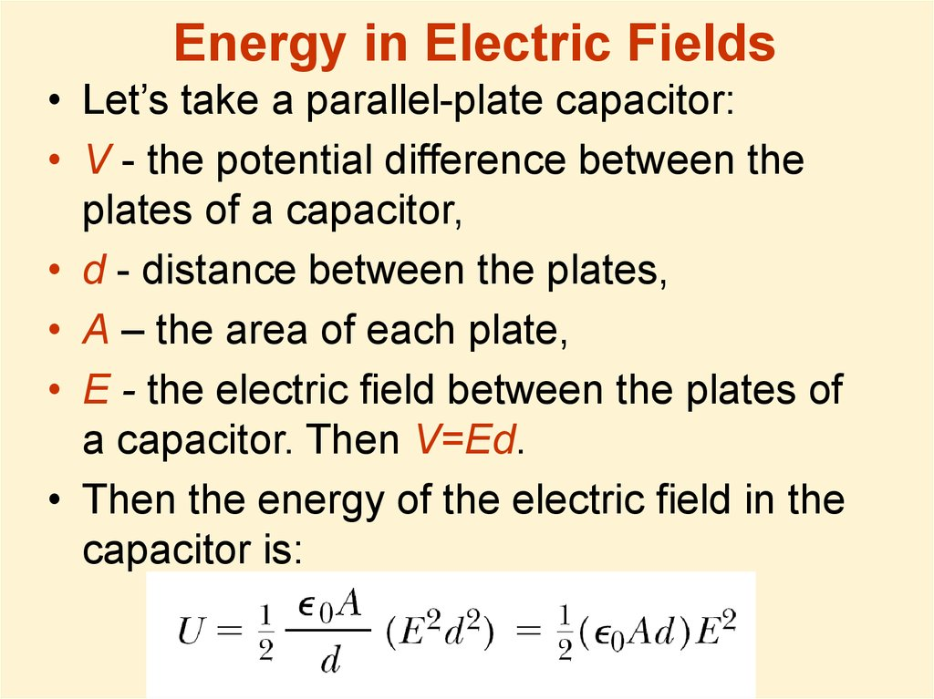 Energy in Electric Fields