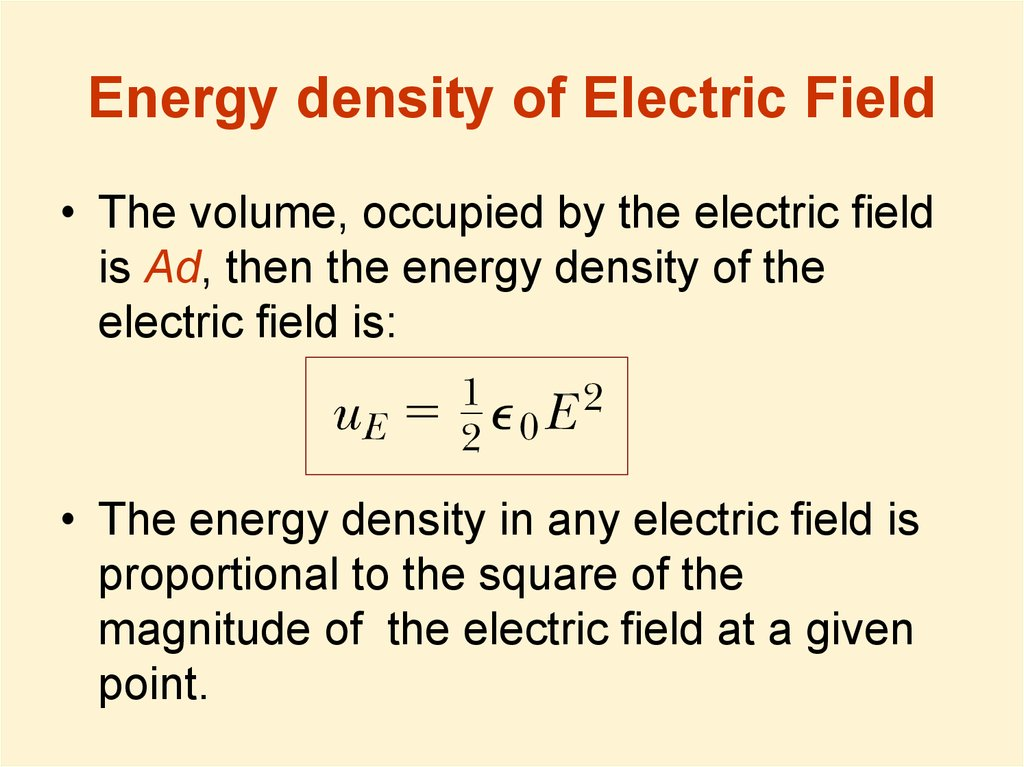 Energy density of Electric Field