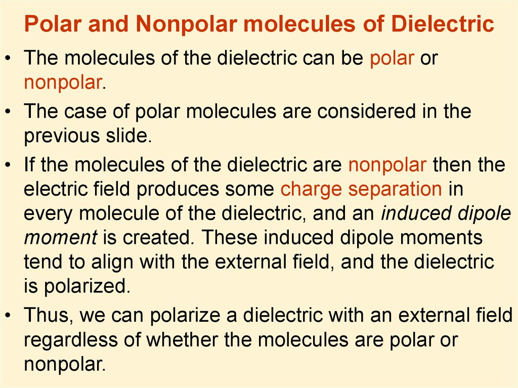 Polar and Nonpolar molecules of Dielectric