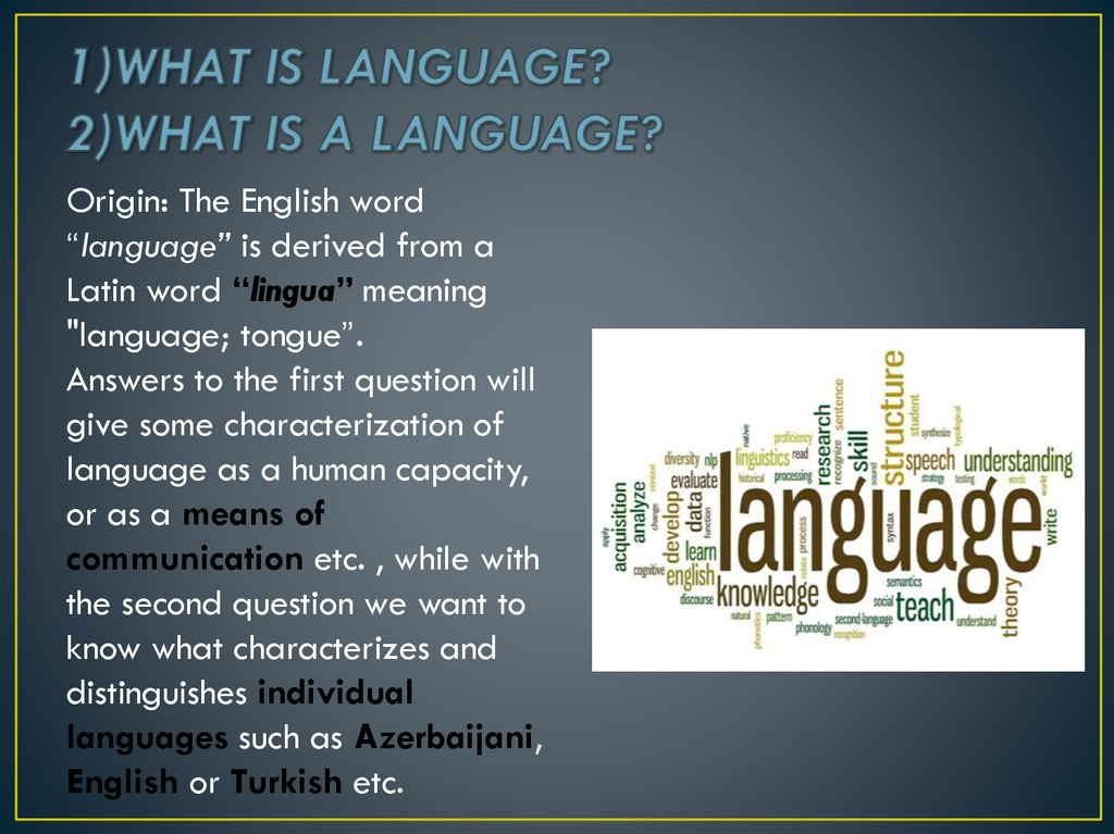 1)WHAT IS LANGUAGE? 2)WHAT IS A LANGUAGE?