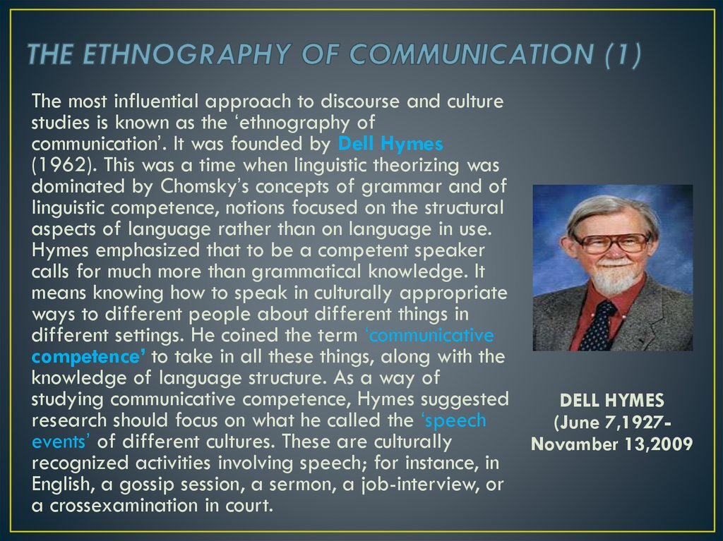 THE ETHNOGRAPHY OF COMMUNICATION (1)