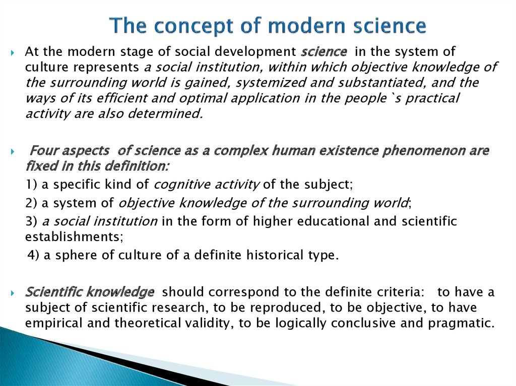 The concept of modern science