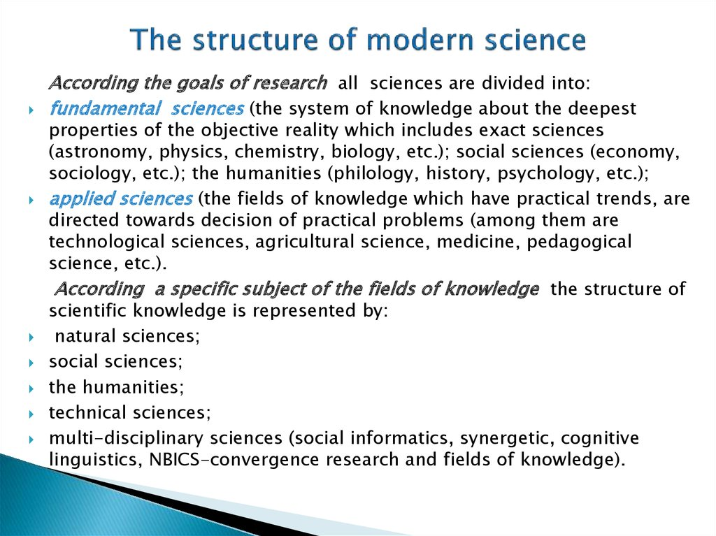 The structure of modern science