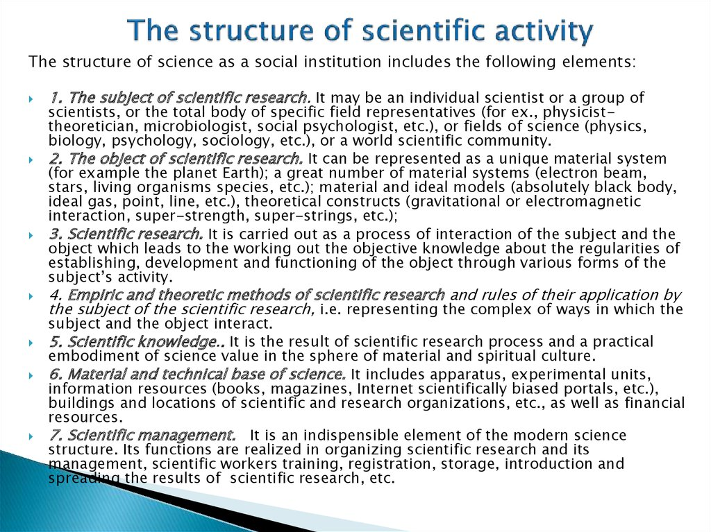 The structure of scientific activity
