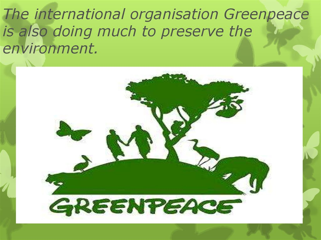 The international organisation Greenpeace is also doing much to preserve the environment.