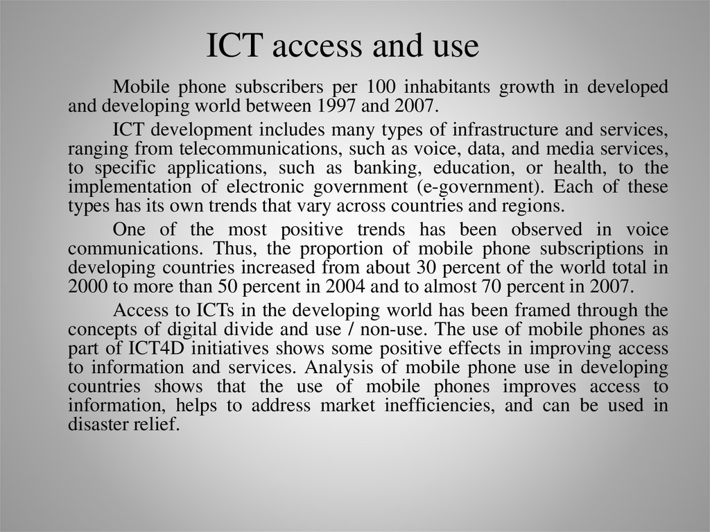 ICT access and use