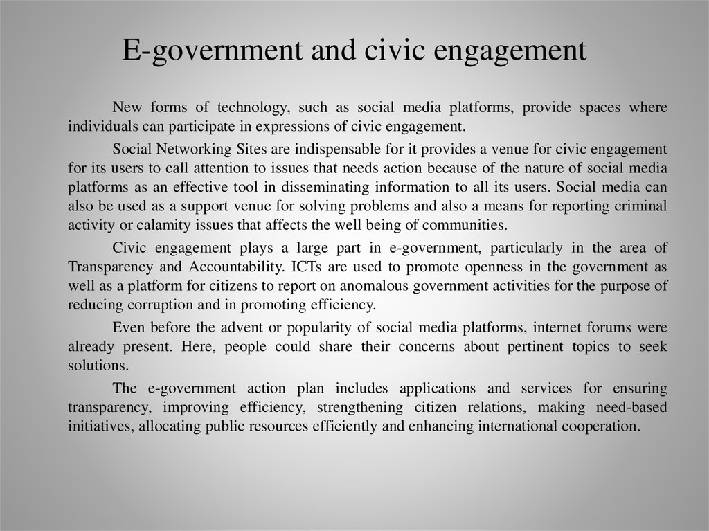E-government and civic engagement