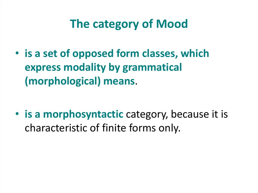 The category of Mood