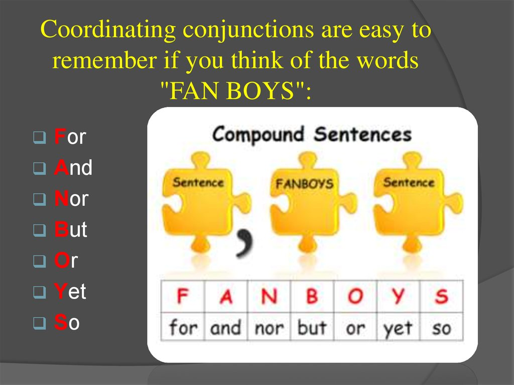 "Coordinating conjunctions are easy to remember if you think of the words ""FAN BOYS"":"