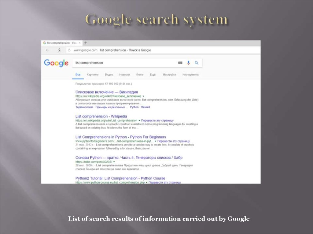 Google search system