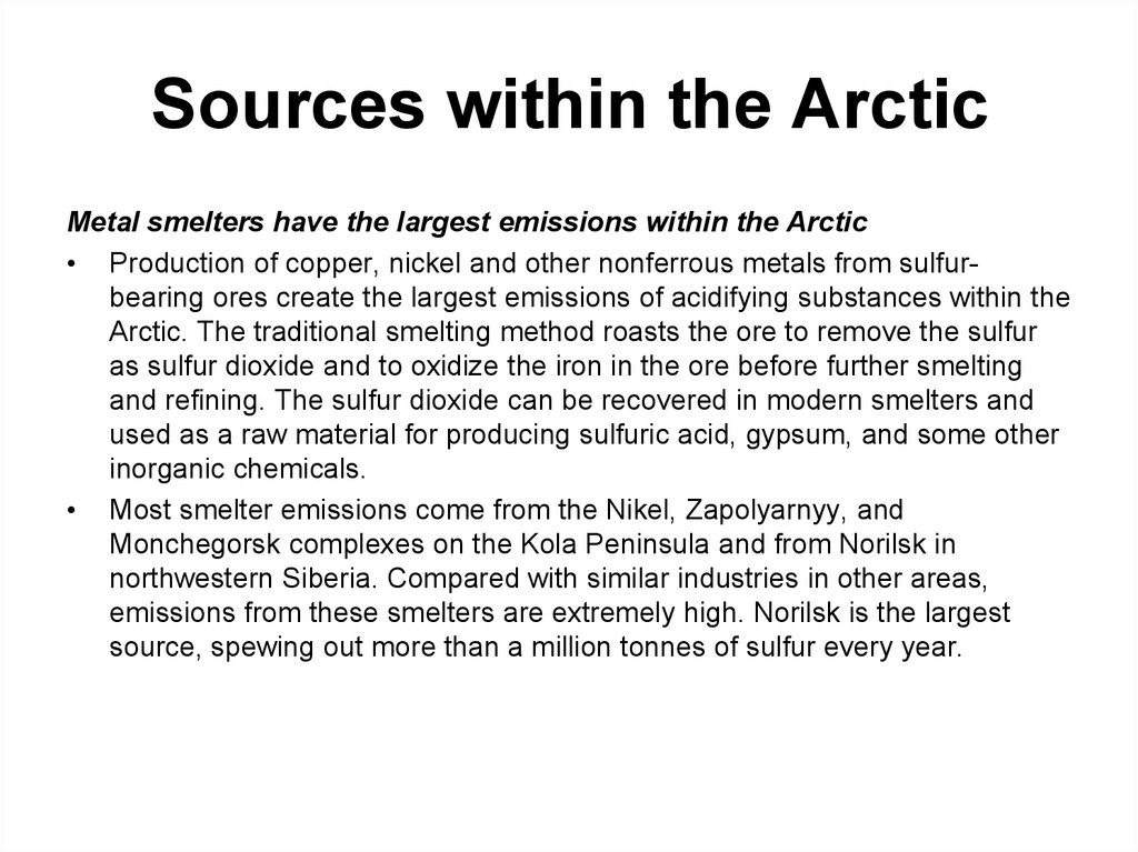 Sources within the Arctic
