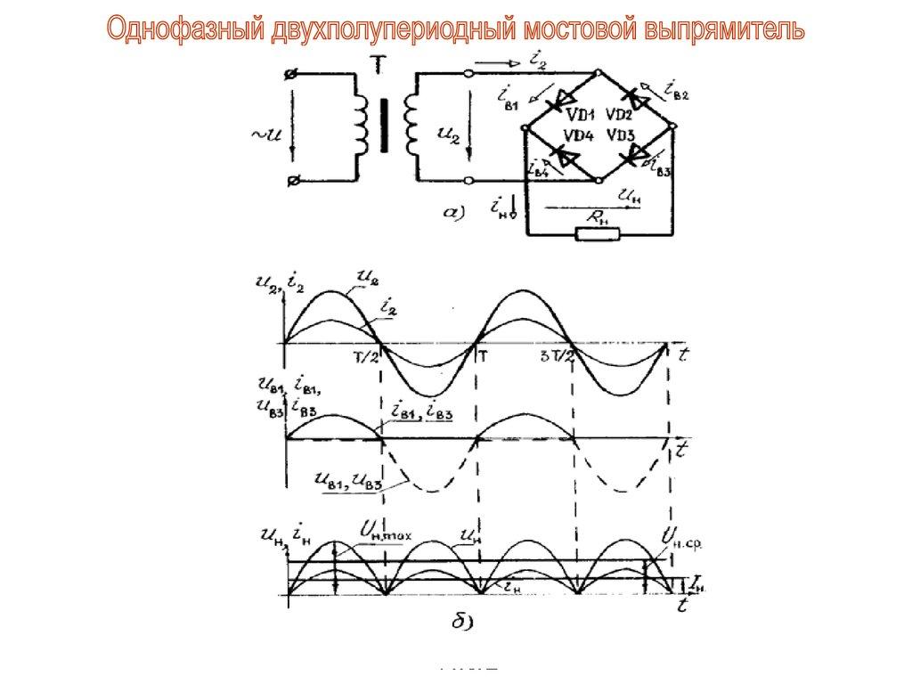 Однофазная двухполупериодная схема выпрямления фото 465
