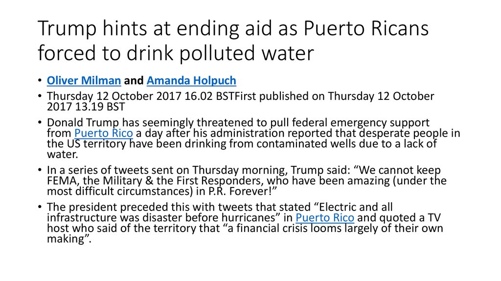 Trump hints at ending aid as Puerto Ricans forced to drink polluted water