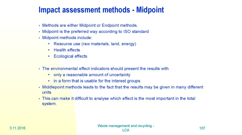 Impact assessment methods - Midpoint