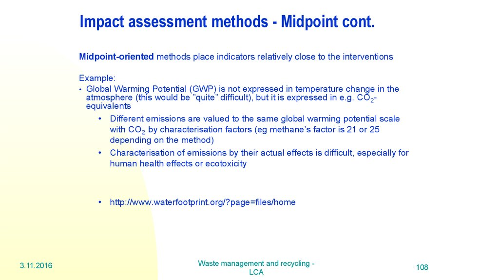 Impact assessment methods - Midpoint cont.