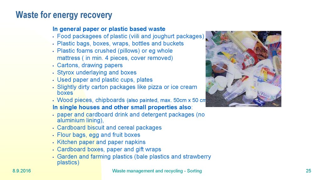 Waste for energy recovery