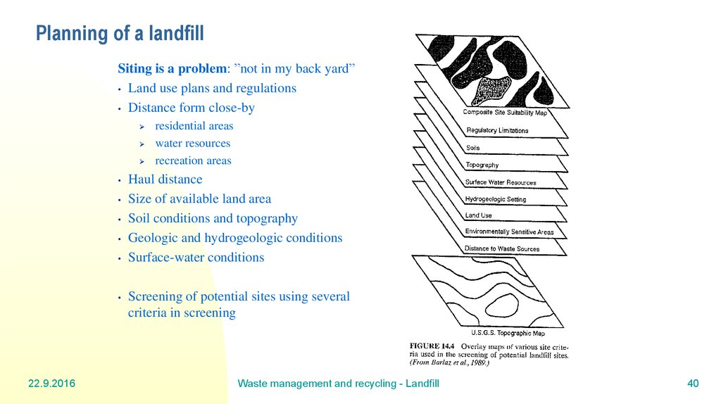Planning of a landfill